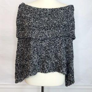 WHBM Gray Black White Poncho Cape Shawl Size M/L